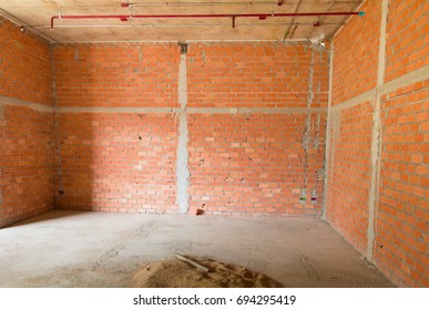 wall made brick construction site interior room in building with copy space add text