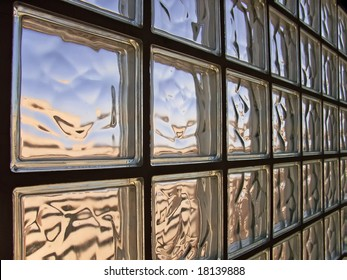 Wall made of glass bricks distorting light
