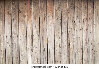 Wall made from old plank in vertical orientation. Detail from old boat house at a middle age museum