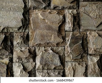 The wall is made of stone. Close-up.