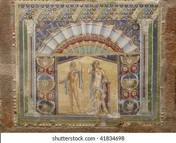 Wall mosaic at the ancient Roman city of Herculaneum, which was destroyed and buried by mud and ash during the eruption of Mount Vesuvius in 79 AD