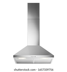 Wall Mount Range Hood Isolated on White Background. Island Ventilation Front View. Stainless Steel Cooking Canopy. Major Kitchen & Domestic Appliances. Fume Extractor. Wall-Mounted Electric Chimney
