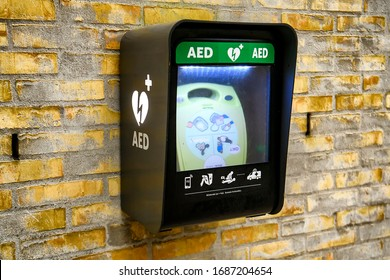 Wall mounted AED defibrillator in a public place in Copenhagen,  Denmark. February 2020 Automated External Defibrillator (AED)
