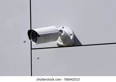 Wall mounted CCTV camera on building.