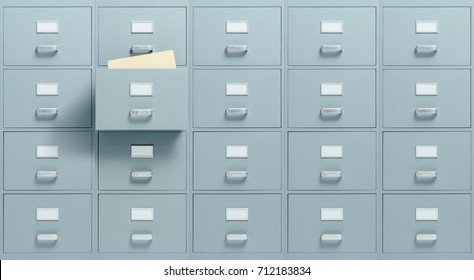 Wall mounted filing cabinets, a drawer with files inside is open, administration and business concept