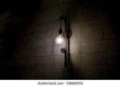 Wall mounted vintage lighting, Horizontal photograph / Edison Pipe Lighting