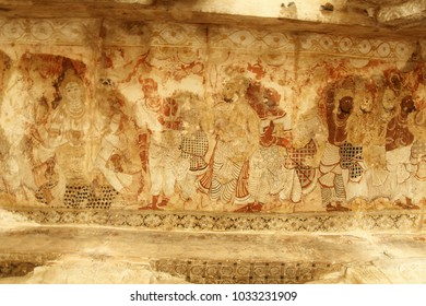 Wall murals on the ceiling of the Veerbhadra Temple at Lepakshi in Andhra Pradesh