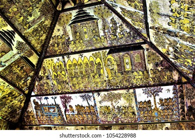 The wall murals on the walls and roof of Karta Gosha in Bali Indonesia