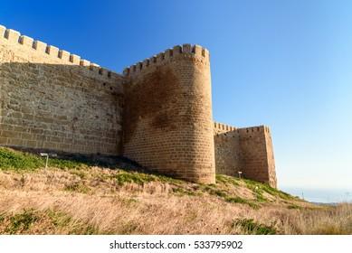 Wall of Naryn-Kala fortress. Derbent. Republic of Dagestan, Russia