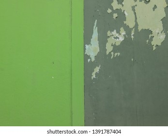 wall with new green paint and walls with old green paint. juxtaposition