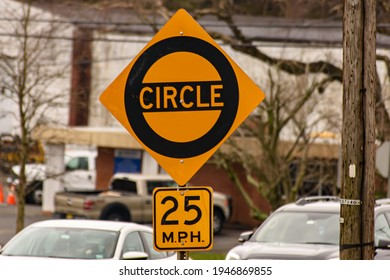 Wall, New Jersey 03-28-2021 Traffic circle sign in Wall, New Jersey