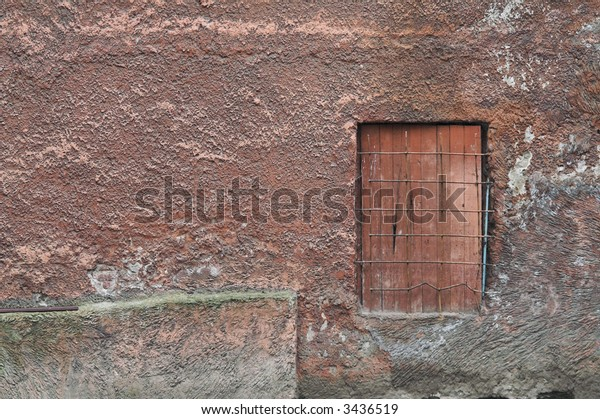 Wall of Old Building with Small Door
