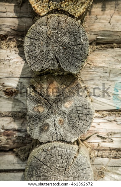 a wall of old chipped vintage logs