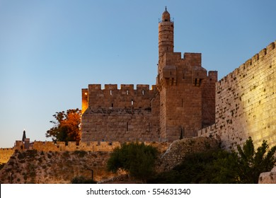 Wall of the old city of Jerusalem King David tower near midnight