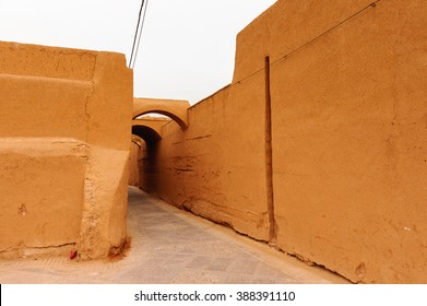 Wall of the old house in Yazd, Iran