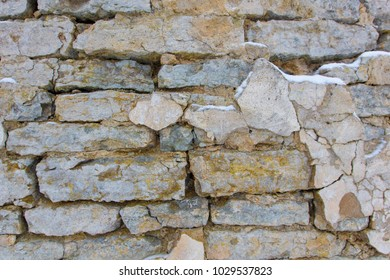 wall of old limestones. texture background