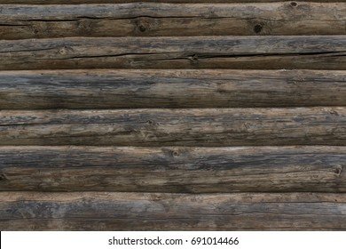Wall of old logs - old texture, background