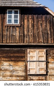 Wall of an old, rustic village house in Poland