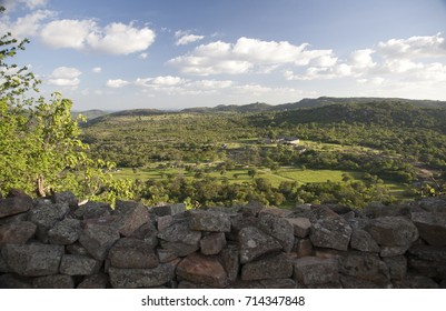 The wall of old stone fort in Zimbabwe, granite rocks, historical famous place, UNESCO protected.