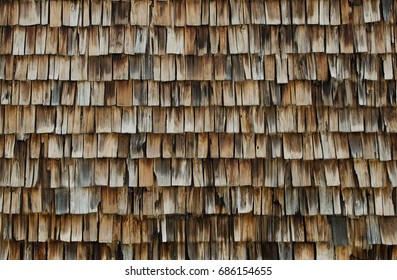Wall of old wooden tiles