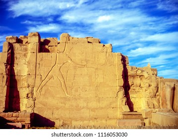 Wall on temple in Luxor, Egypt