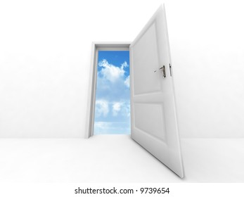 wall and opened to sky door on a white background