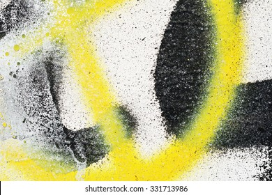 Wall, painted the old faded yellow black paint