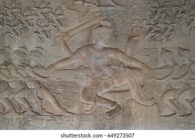 Wall Painting of the Churning of the Milk Ocean, Angkor Wat, Siem Reap, Cambodia