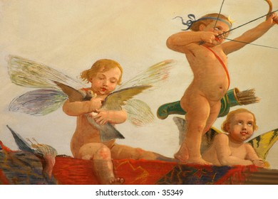 wall painting detail: angels