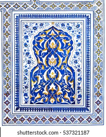 Wall painting of Kok Gumbaz mosque, Uzbekistan