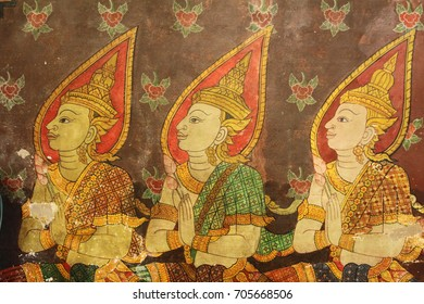 Wall painting of Thai style Angle in Temple of Great Jeweled Reliquary or Big Temple in Northern of Thailand.