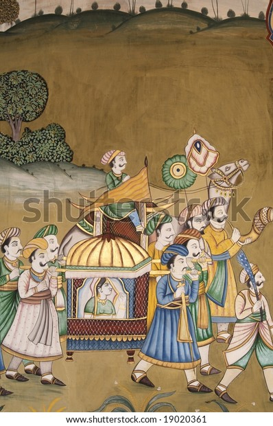 Wall Painting Traditional Indian Scene Jaipur Stock Photo Edit Now
