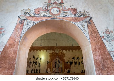 Wall paintings at the Jesuit mission at the UNESCO world heritage site in San Jose de Chiquitos, Bolivia