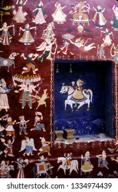 Wall paintings with scenes from Hindu myths, Rajasthan, India