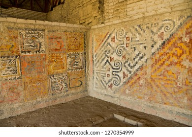 Wall patterned painting in Huaca Cao Viejo , the El Brujo Archaeological Complex, near Trujillo, Peru.