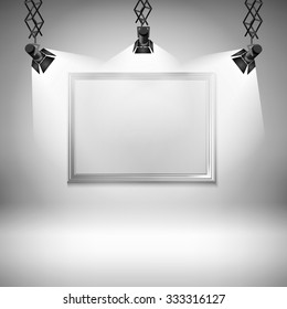 Wall with picture  illustration spotlight light spot frame background art