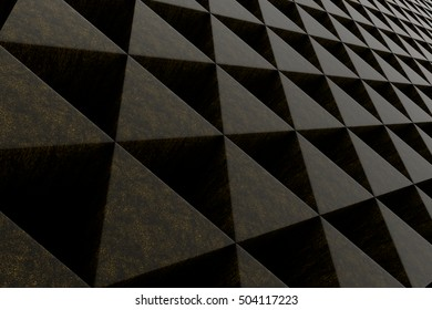 Wall of prisms, abstract background made of prisms. 3D render illustration