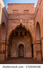 Wall of Public Old Almohad Tin Mal Mosque in Morocco with Mihrab