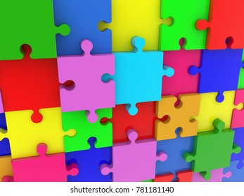 Wall of puzzle pieces in various colors.3d illustration