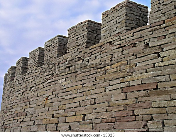 The wall of a reconstructed medieval castle