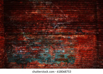 The wall of red textured brick. Old dirty brick surface. Blank background is blank for the designer. free space empty