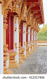 Wall, roof and pole in Nong Wang temple in Khon Kaen province