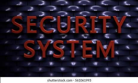Wall of rounded plates with the Text: Security System (3d rendering)