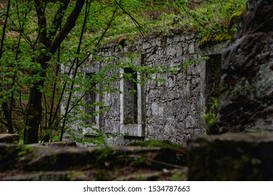 wall of the ruins of an old water mill made of natural stone in the forest near Dolny Mlyn in Bohemian Switzerland national park