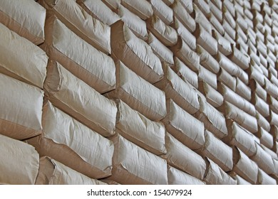The wall of sacks in a Warehouse