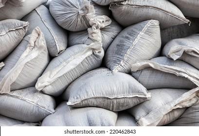 Wall of sandbags for flood defense or military use