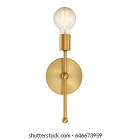 Wall Sconce Isolated on White Background. Metal Bronze Light Fixture with LED Bulb. Front View