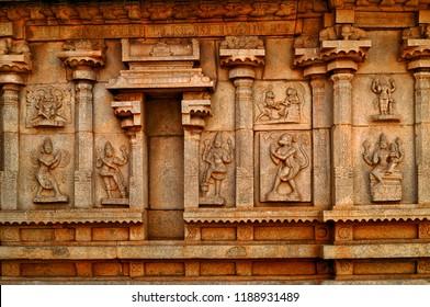 Wall sculptures of Hindu gods at Hampi Temple