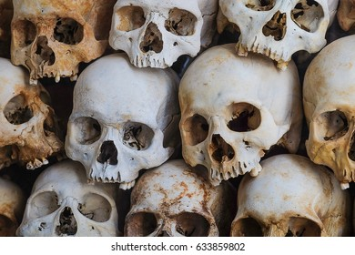 Wall of skull from a pure massacre in Cambodia.