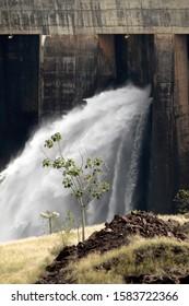 Wall, small tree and waterfall